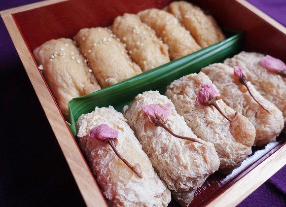 おいなりさん /菜の花のごまクリーム/ 葛桜