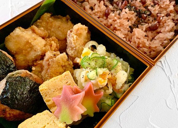 お弁当レッスン1 (季節の生麩の炊いたん、鶏明太バーグ、からあげ)