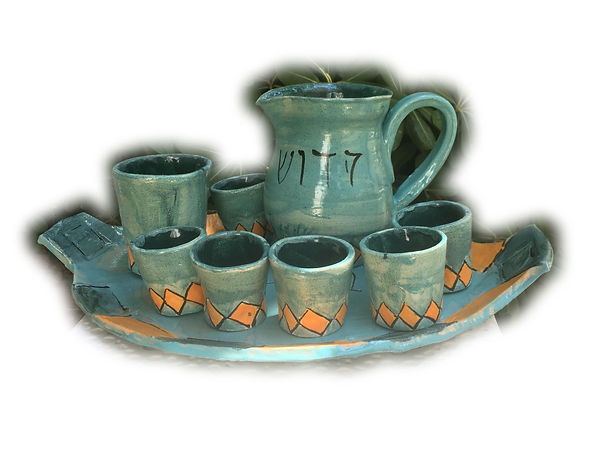 kiddush set with orange diamond motif.jp