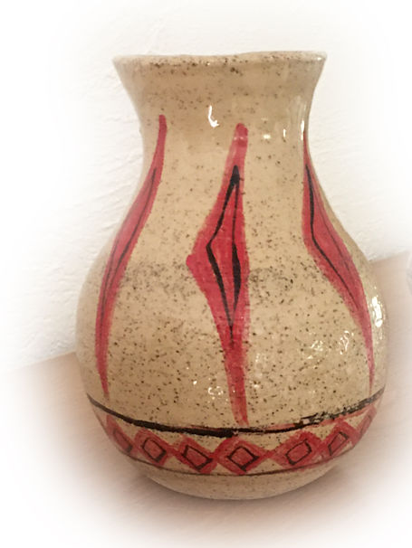 slimnecked stoneware vase with triangles