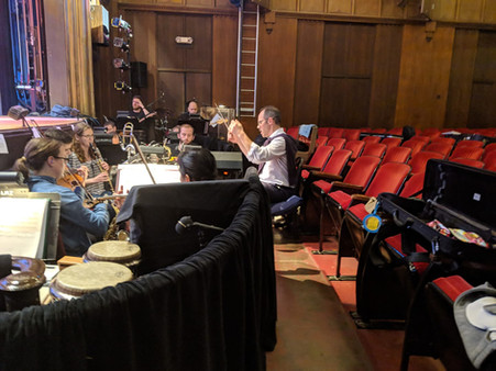 Sweet Charity rehearsal (Emma on clarinet)