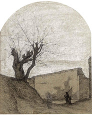 """Vincent van Gogh """"Fisherman and Child Walking by a Wall"""""""