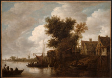 "Jan van Goyen, ""River Scene with Three Boats and Houses"""