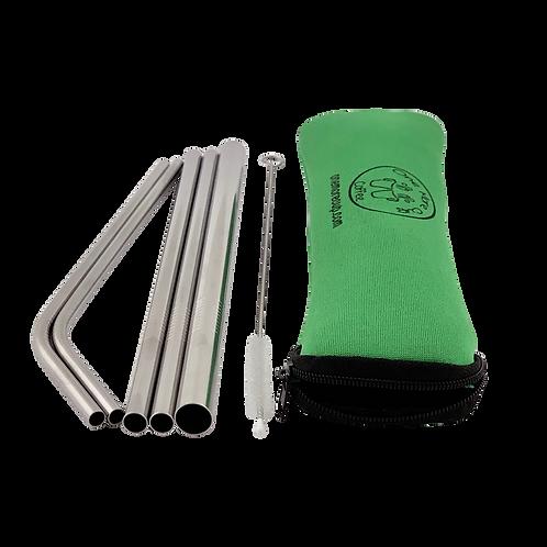 6 Pack Green Straw Set