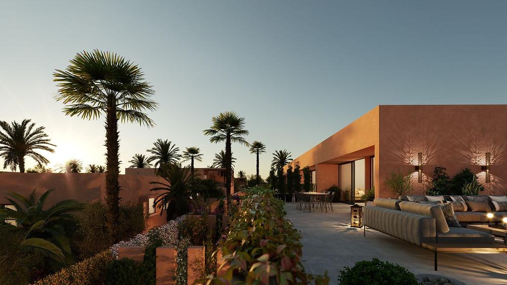 Ce domaine sur une oliveraie de 5 hectares comportera une trentaine de villas privées ainsi qu'une résidence hôtelière. l'agence Corner immobilier commercialise une résidence de 30 villas à Marrakech. livraison prévue en 2022. villa à partir de 3950000 dhs
