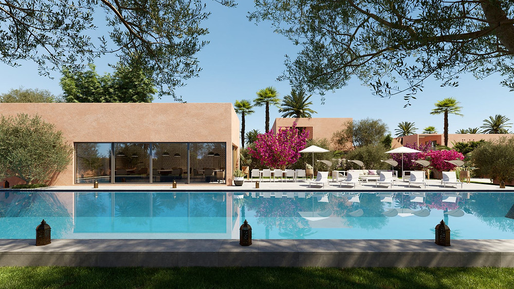 Achetez une villa 4 chambres, piscine privée, dans un domaine a marrakech. construction normes europeennes.