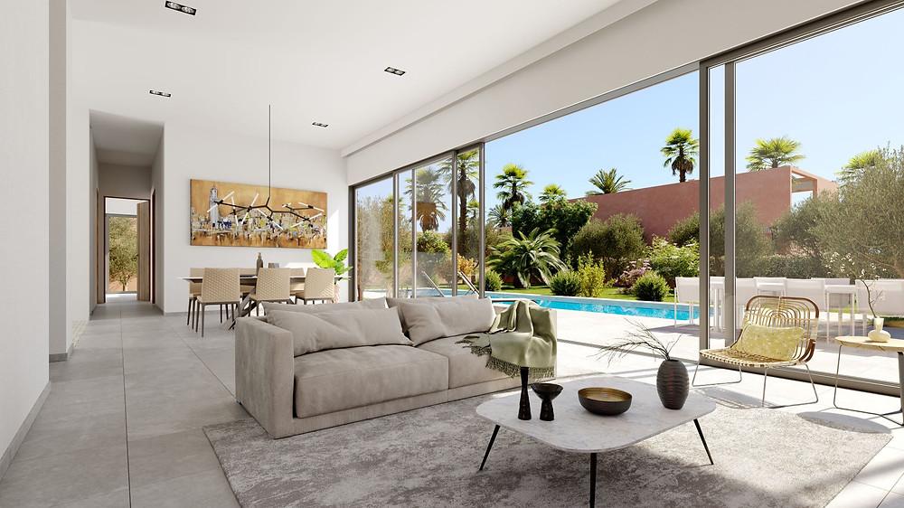 Ce domaine sur une oliveraie de 5 hectares comportera une trentaine de villas privées ainsi qu'une résidence hôtelière. l'agence Corner immobilier commercialise une résidence de 30 villas à Marrakech. livraison prévue en 2022.