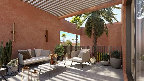 A 15 minutes de Marrakech, dans un domaine clos au cœur d'une oliveraie de 5 hectares, découvrez cette résidence de 30 villas aux lignes contemporaines face à l'Atlas. Exemple d'une villa (A17) de 4 chambres en R+1 sur un terrain à partir de 1231 m²avec piscine privée (9 x 3,5) et terrasses.   Description des surfaces : Hall de 11 m², cuisine de 31 m², salle à manger de 27 m², salon de 38 m², séjour de 37 m². A l'étage 3 chambres avec salle de bains, dont une master de 25 m² plus dressing et salle de bains. La quatrième chambre bénéficie d'une d'une cours anglaise très lumineuse et d'un petit espace jardin.  Les jardins sont aménagés autour de la piscine (gazon) pour vous permettre de profiter à la livraison de tout le confort. Un dispositif d'arrosage est également prévu pour les espaces verts complantés. Toutes les villas ont 4 chambres avec salle de bain avec douche et wc. Normes de construction CE. Livraison 2022. Un descriptif complet sera remis à l'occasion de la visite.