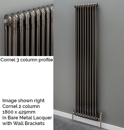 Cornel 3 Column 1800 x 429 (5159 BTU's) with Underneath Connections in Lacquer