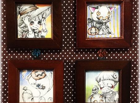 ★新商品★[ミニ原画]HAPPY☆HALLOWEEN 4種 点描画・ペン画