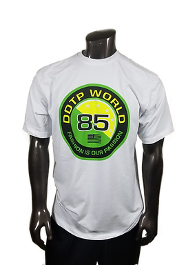 DDTP World 85 Shirt - Green and Yellow on White