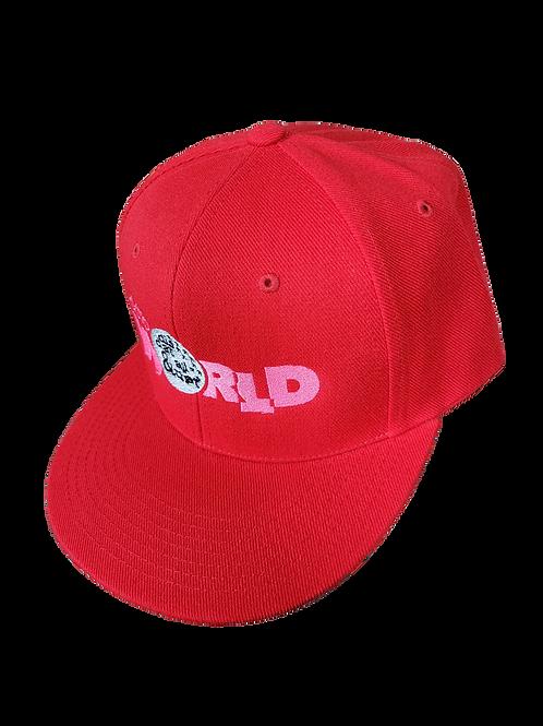 DDTP World Snapback Hat - Pink Logo on Red