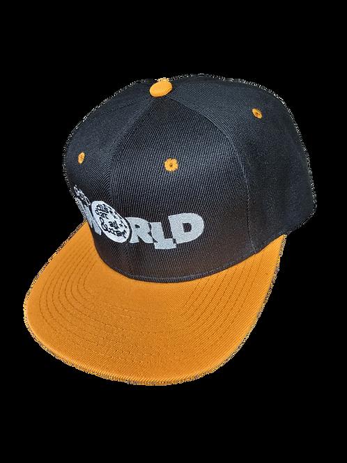 DDTP World Snapback Hat - Grey Logo on Black with Yellow Brim