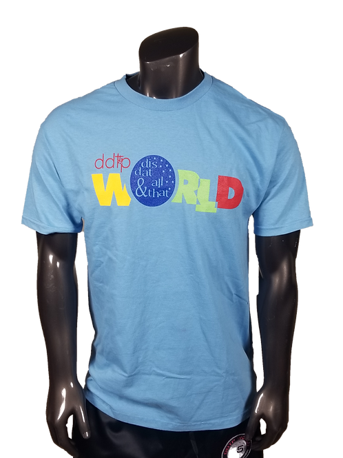 DDTP World Shirt - Classic Design on powder blue
