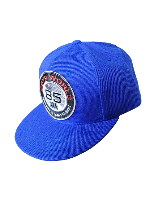 DDTP World 85 Snapback Hat - Black and Red Circle Patch on Royal Blue