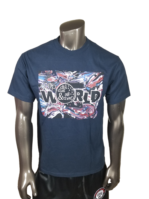 DDTP World Abstract Shirt - Abstract Design on Navy Blue