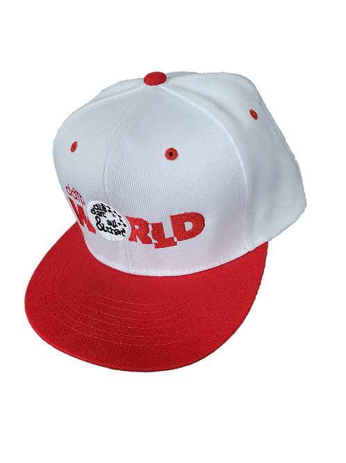 DDTP World Snapback Hat - Red Logo on White with Red Brim