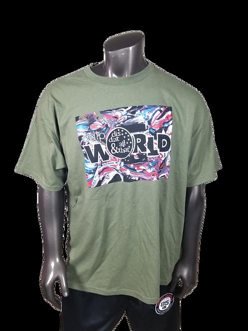 DDTP World Abstract Shirt - Abstract Design on Broccoli Green