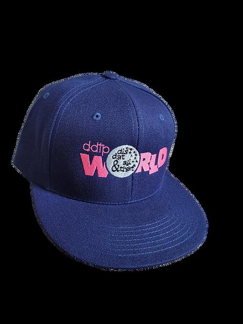 DDTP World Snapback Hat - Mauve Logo on Blue