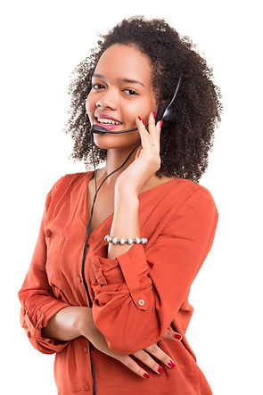 A friendly telephone operator smiling is