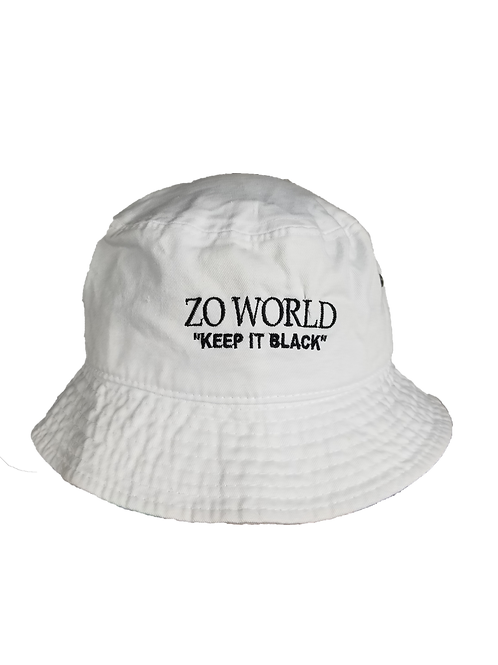 "Zo World ""Keep it Black"" Bucket Hat - Black on White"