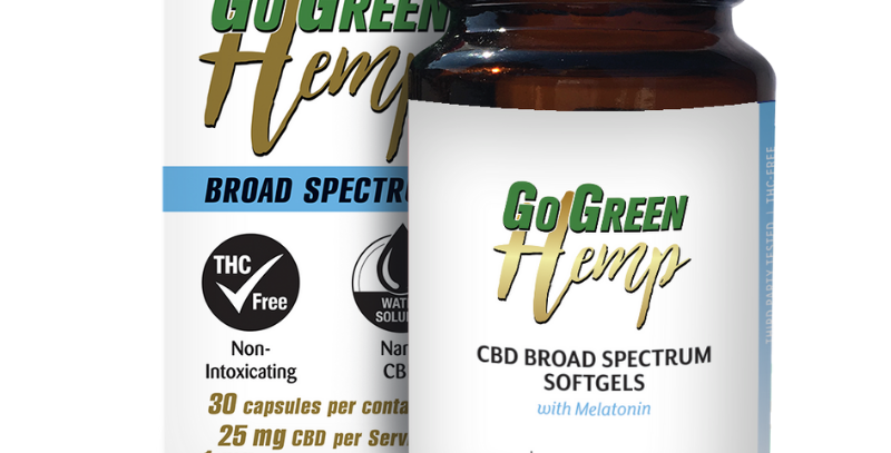 GoGreen Hemp CBD Soft Gel Capsules WithMelatonin 25mg CBD