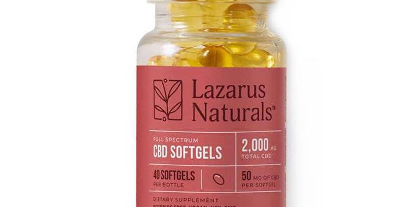 Lazarus Naturals - CBD Capsules - Full Spectrum Liquid Softgels - 50mg