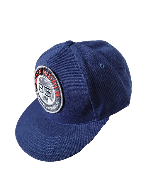 DDTP World 85 Snapback Hat - Black and Red on Navy Blue