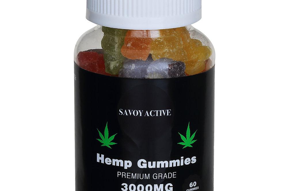 Vegan Hemp Seed Oil Gummies With Pectin - 3000mg - 60 Gummies - 50mg / Gummy