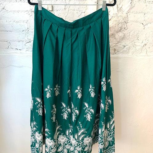 VINTAGE 70's Emerald Embroidered Skirt