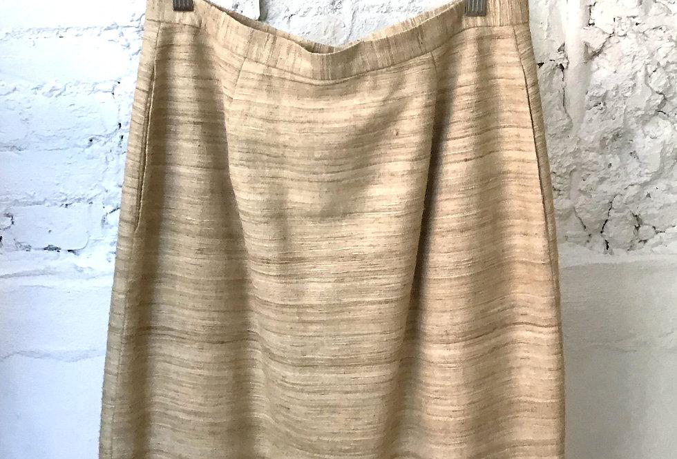 80's VINTAGE 100% Silk Ivory Skirt