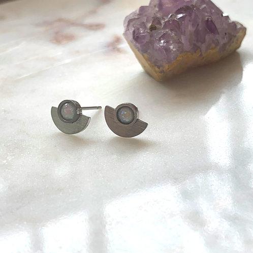 Silver Opal Half Moon Stud