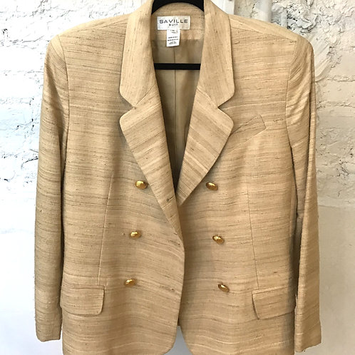 VINTAGE 80's 100% Silk Ivory Blazer