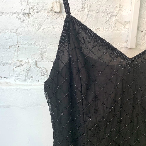 VINTAGE 80's Black Indian Beaded Gown