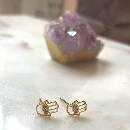 Gold Mini Hamsa Stud