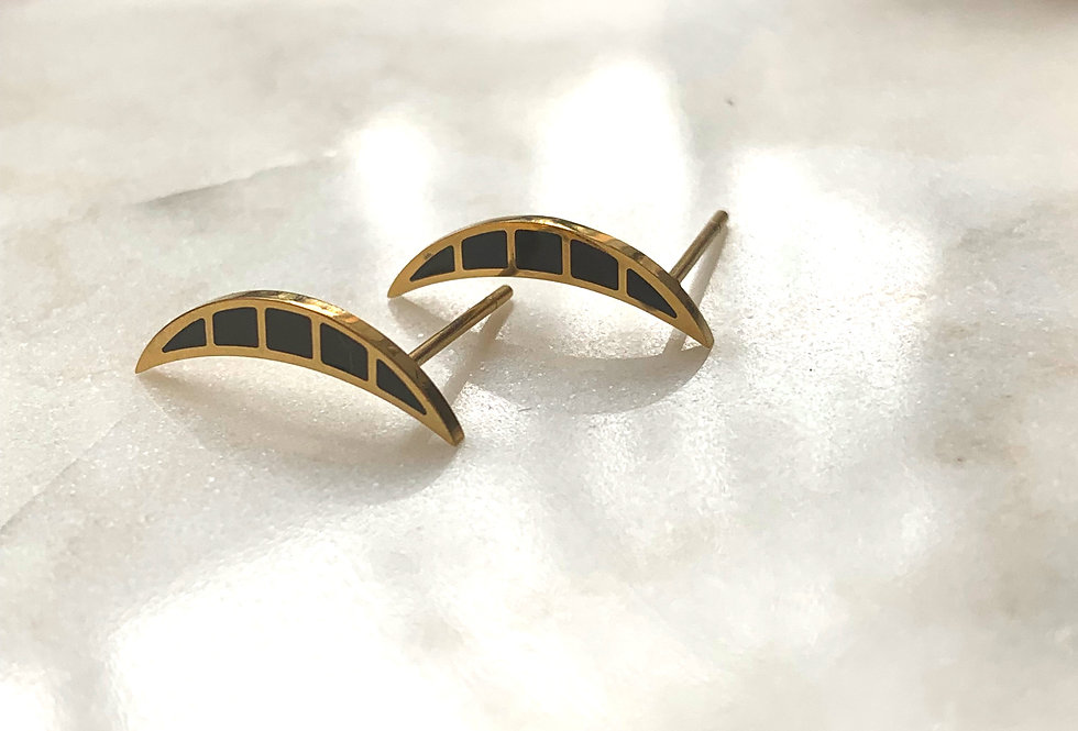 Black & Gold Enamel Crescent Studs