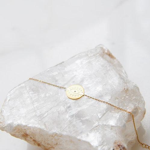 Gold Steel Flat Eye Bracelet