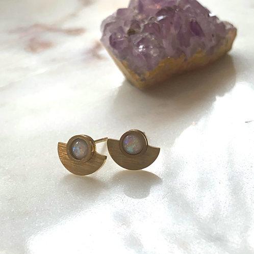 Gold Opal Half Moon Stud
