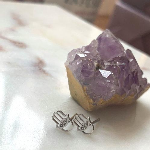 Silver Mini Hamsa Stud
