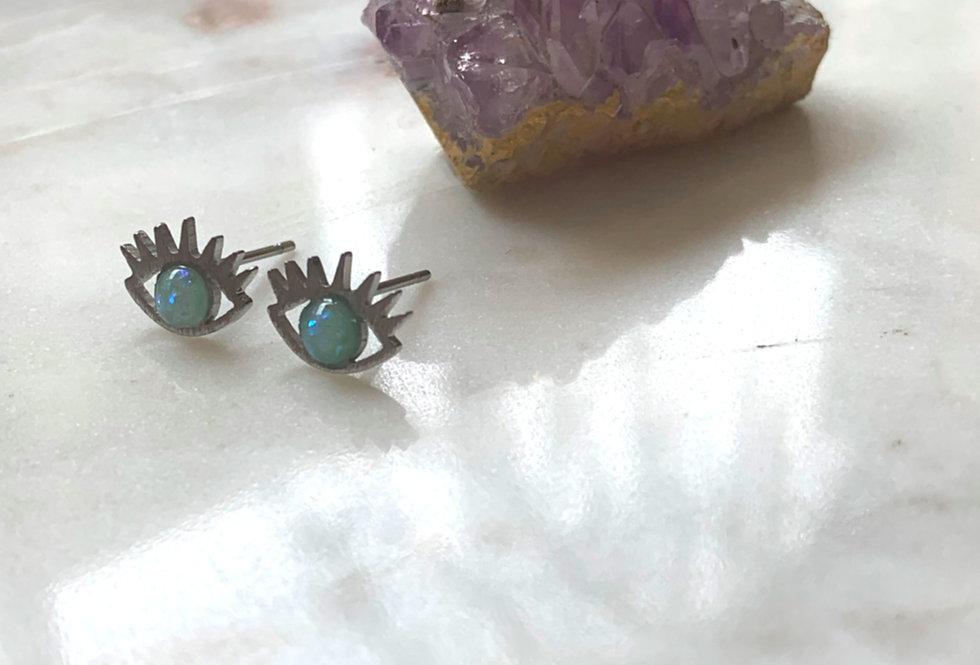 Silver Opal Eye Stud