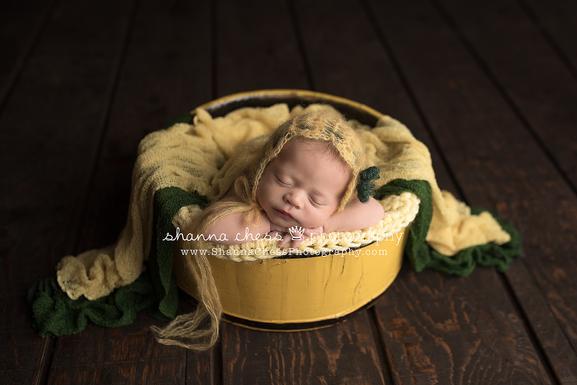Yellow wood bucket