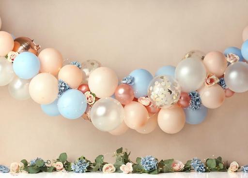 Peach and Blue Balloons