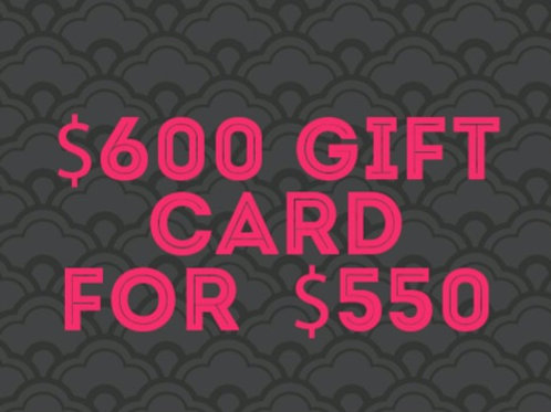 $600 gift card for $550