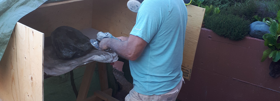 Grinding of the stone bases.