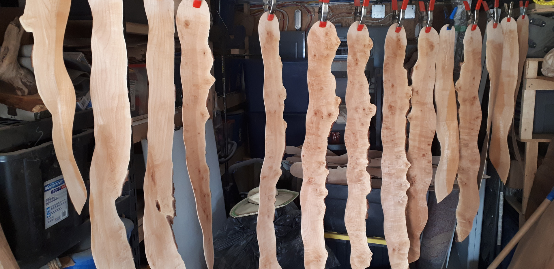 One batch of blades hanging and drying