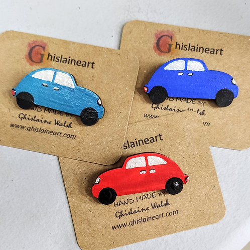 Childrens Hand Painted Car Brooch