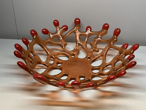 Glass Orange Coral Bowl