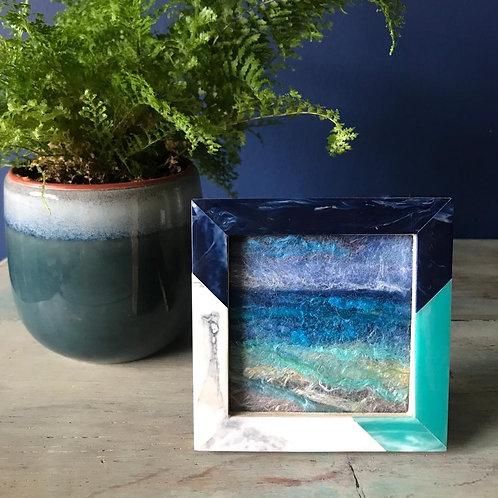 Hand-felted seascape - vintage style frame