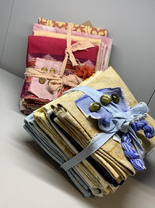 Fabric bundles - hand dyed and upcycled fabrics