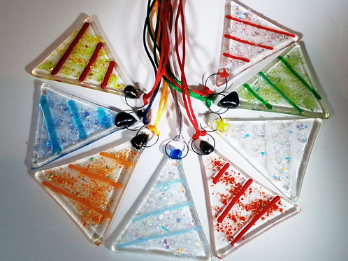 Set of 5 glass hanging trees